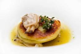"Potato ""gnocchi"" with seafood"
