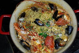 """Cocotte"" of scialatielli tossed with seafood"