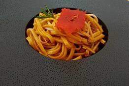 Tagliolini home made with con squid ragout and ...