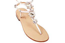 White crystals Capri sandals - Da Costanzo