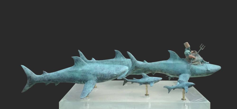 Poseidone porta al pascolo i suoi squali