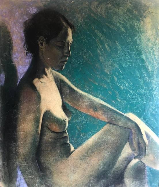 Nudo femminile su fondo verde