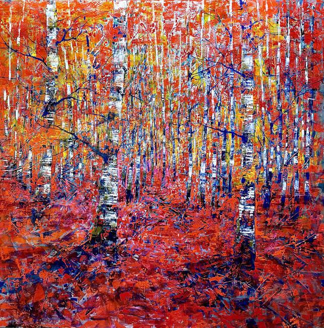 Through the shining birches