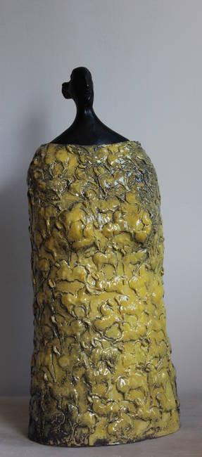 Busto di donna in bronzo e ceramica