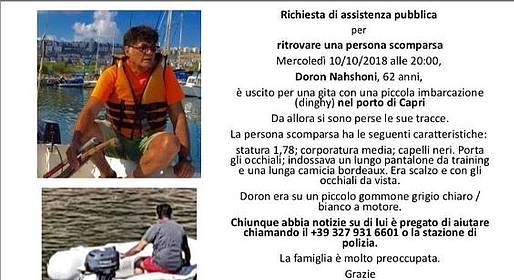Uomo scomparso in mare a Capri : appello della Comunità Israeliana in Italia