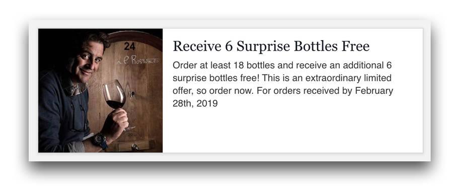 Ordina 18 bottiglie e ricevi in omaggio 6 bottiglie a sorpresa. Fino al 28 febbraio 2019
