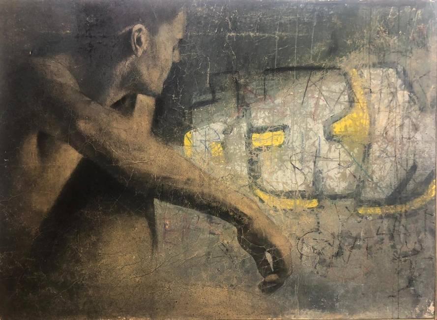 Figura maschile in paesaggio urbano
