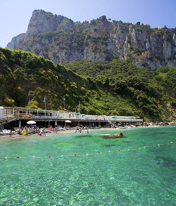Bagni di Tiberio on Capri. The beach of the Empereor