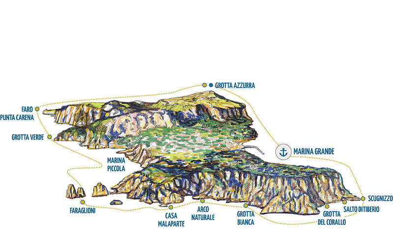 Island Tour stop by Blue Grotto Yellow Line