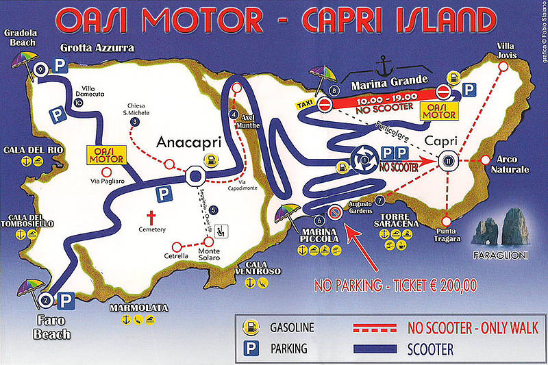 Rent your scooter online - Full Day (6 hours) Capri Map on